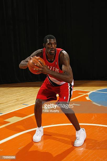 Greg Oden of the Portland Trail Blazers poses for an action portrait during the 2007 NBA Rookie Photo Shoot on July 27, 2007 at the MSG Training...