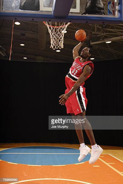 Greg Oden of the Portland Trail Blazers poses for an action portrait during the 2007 NBA Rookie Photo Shoot on July 27 2007 at the MSG Training...