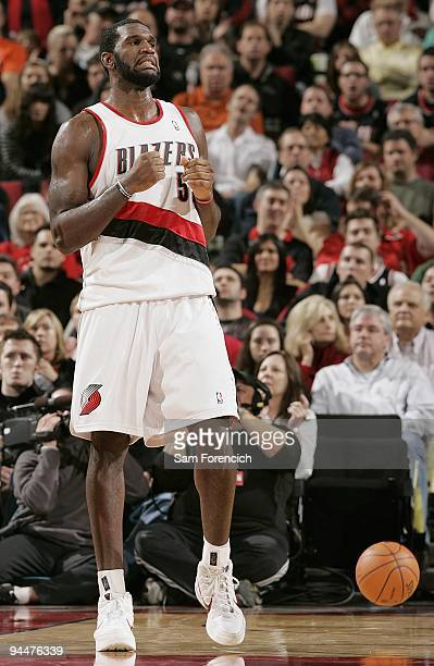Greg Oden of the Portland Trail Blazers reacts during the game against the Memphis Grizzlies on November 27 2009 at the Rose Garden in Portland...