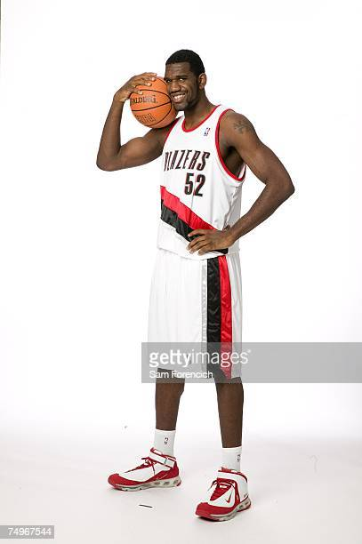 Greg Oden of the Portland Trail Blazers the first overall draft pick in the 2007 NBA Draft poses in his new jersey June 29 2007 during a photo shoot...