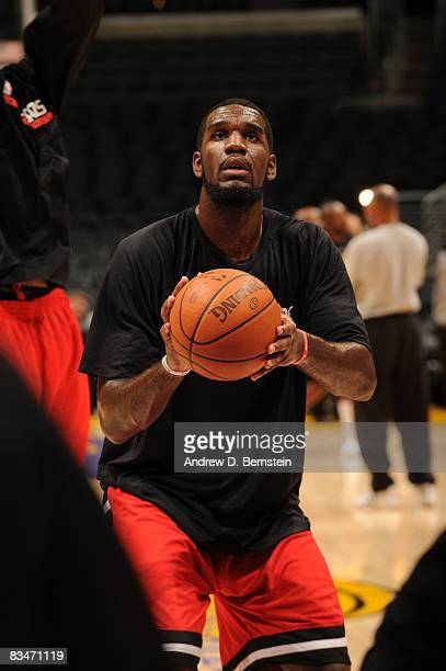 Greg Oden of the Portland Trail Blazers warms up prior to the seasonopener against the Los Angeles Lakers at Staples Center on October 28 2008 in Los...