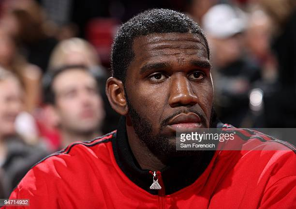 Greg Oden of the Portland Trail Blazers watches from the sidelines during the game against the Houston Rockets on December 5 2009 at the Rose Garden...