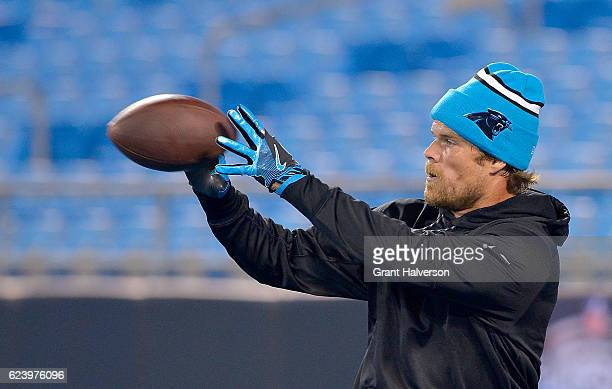 Greg Olsen of the Carolina Panthers catches a pass during warm ups against the New Orleans Saintsduring at Bank of America Stadium on November 17...