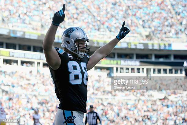 Greg Olsen of the Carolina Panthers celebrates a 3rd quarter Panthers touchdown against the Washington Redskins during their game at Bank of America...