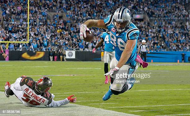 Greg Olsen of the Carolina Panthers dives out of bounds after a catch against the Tampa Bay Buccaneers in the 3rd quarter during the game at Bank of...