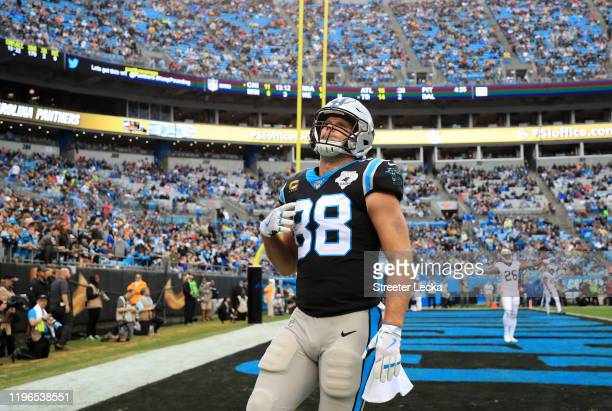 Greg Olsen of the Carolina Panthers reacts after a play in the end zone during their game against the New Orleans Saints at Bank of America Stadium...