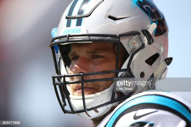 Greg Olsen of the Carolina Panthers stands on the field before their game against the San Francisco 49ers at Levi's Stadium on September 10 2017 in...