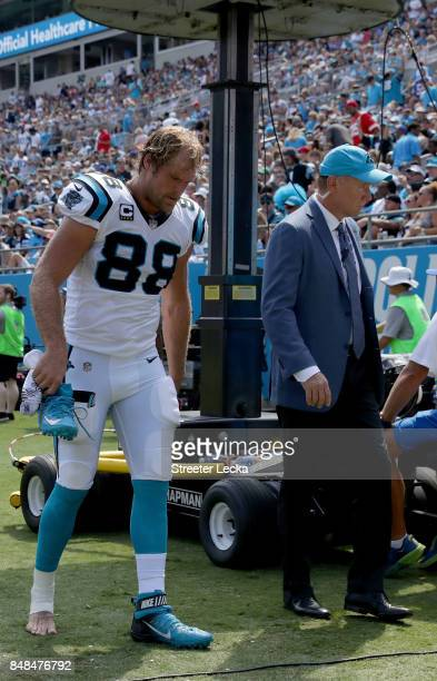Greg Olsen of the Carolina Panthers walks off the field against the Buffalo Bills during their game at Bank of America Stadium on September 17 2017...