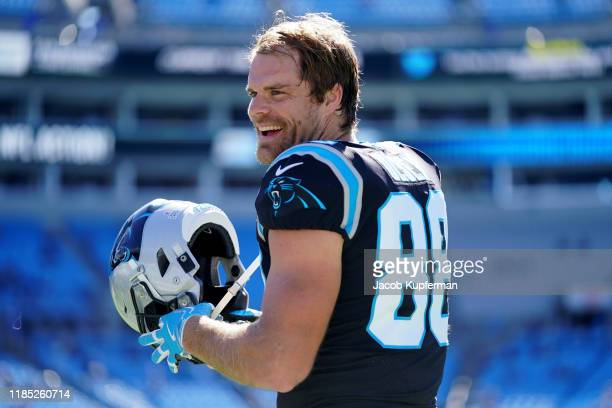 Greg Olsen of the Carolina Panthers warms up before their game against the Tennessee Titans at Bank of America Stadium on November 03, 2019 in...