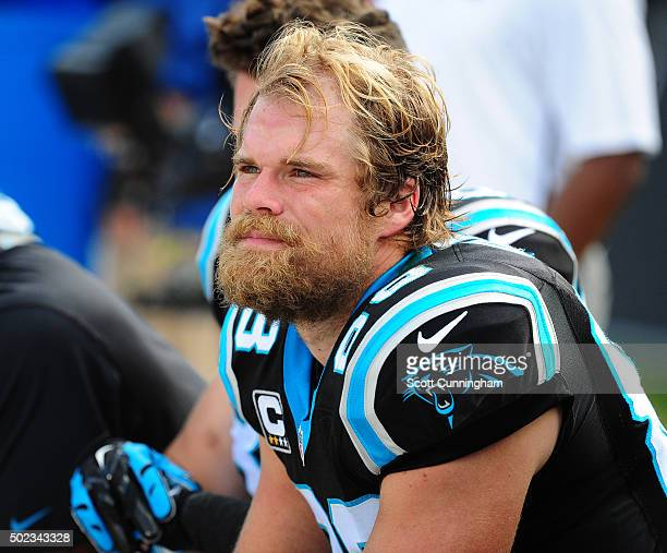 Greg Olsen of the Carolina Panthers watches the action against the Atlanta Falcons at Bank Of America Stadium on December 13 2015 in Charlotte North...