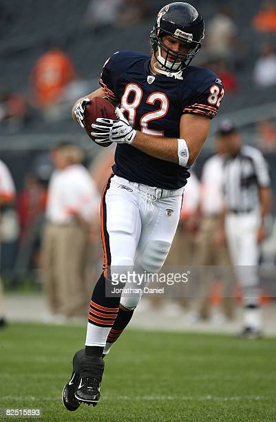 Greg Olsen of the Chicago Bears catches a pass during warmups before a game against the San Francisco 49ers on August 21 2008 at Soldier Field in...