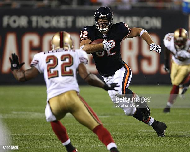 Greg Olsen of the Chicago Bears moves against Nate Clements of the San Francisco 49ers on August 21 2008 at Soldier Field in Chicago Illinois The...