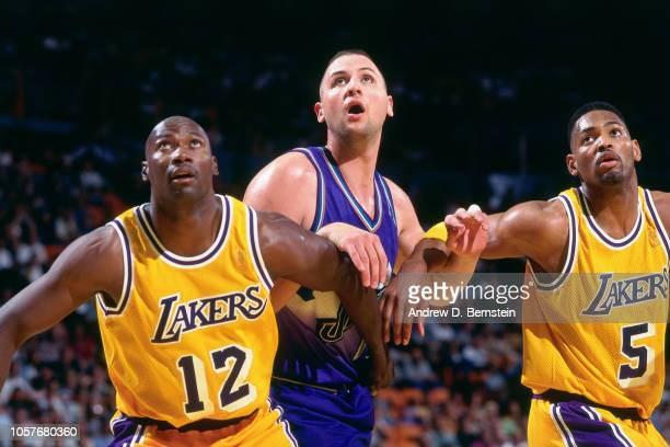 Greg Ostertag of the Utah Jazz battles for position during Game Four of the  Western Conference 3b936e3e9