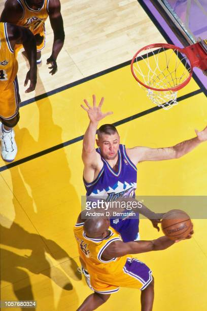 Greg Ostertag of the Utah Jazz defends during Game Four of the Western  Conference Semifinals as 49dbefd08