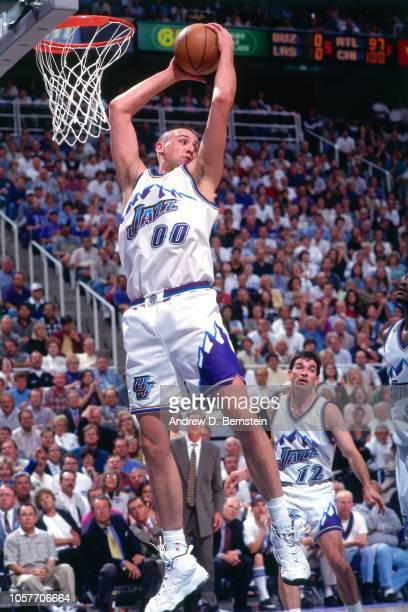Greg Ostertag of the Utah Jazz rebounds during Game Two of the Western  Conference Semifinals as 669b34d74