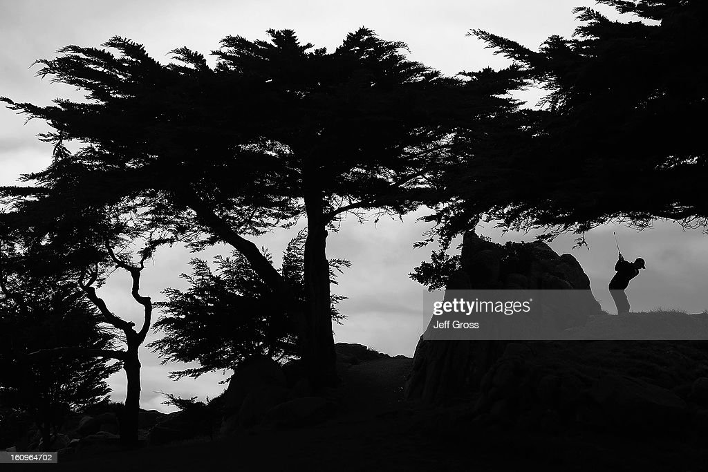Greg Owen of England hits a shot during the first round of the AT&T Pebble Beach National Pro-Am at the Monterey Peninsula Country Club on February 7, 2013 in Pebble Beach, California.