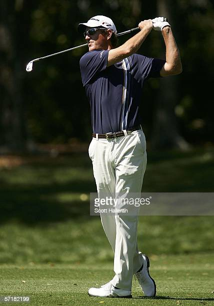 Greg Owen of England hits his approach shot to the second green during the third round of The Players Championships on the Stadium Course at TPC...