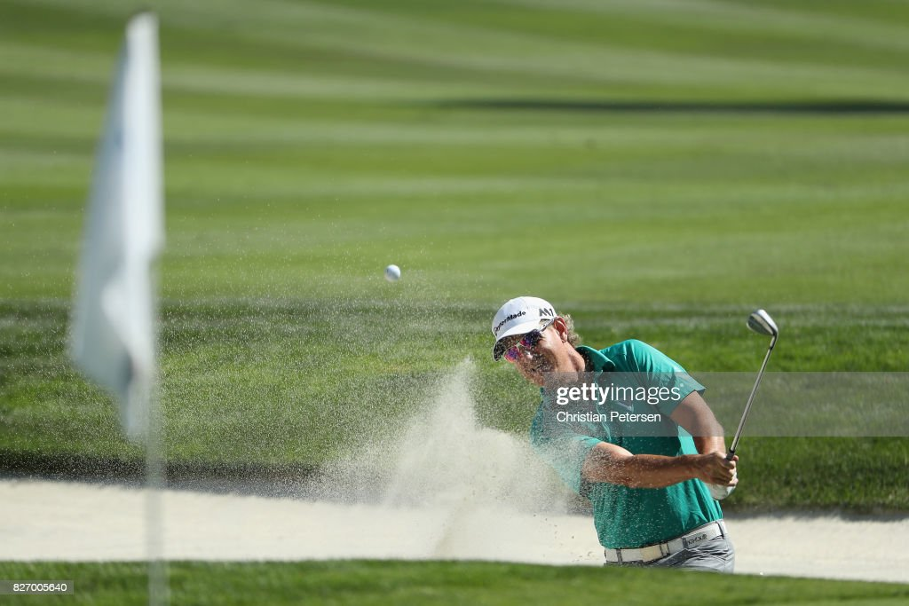 Greg Owen of England plays his shot out of the bunker on the second hole during the final round of the Barracuda Championship at Montreux Country Club on August 6, 2017 in Reno, Nevada.
