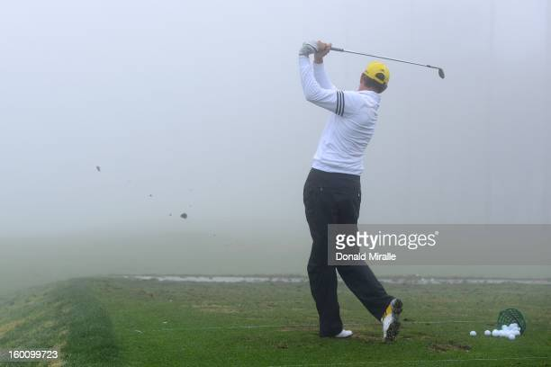 Greg Owen of England practices during the Third Round at the Farmers Insurance Open at Torrey Pines North Golf Course on January 26 2013 in La Jolla...