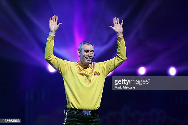 Greg Page of The Wiggles performs on stage during The Wiggles Celebration Tour at Sydney Entertainment Centre on December 23, 2012 in Sydney,...