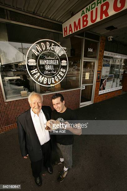 Greg Pappas and the orginal owner Andrew of Andrew's Hamburgers celebrating their 50th anniversary 19 February 2007 THE AGE METRO Picture by EDDIE JIM