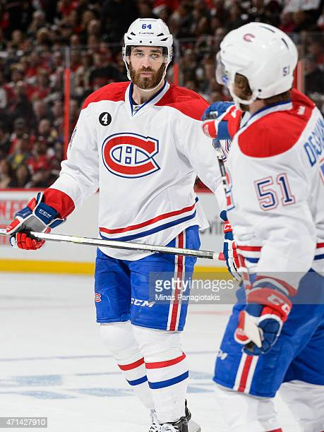 Greg Pateryn looks on in Game Six of the Eastern Conference Quarterfinals against the Ottawa Senators during the 2015 NHL Stanley Cup Playoffs at...
