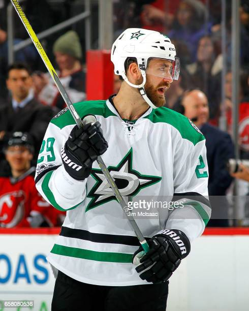 Greg Pateryn of the Dallas Stars looks on in the secondperiod during the game against the New Jersey Devils on March 26 2017 at Prudential Center in...