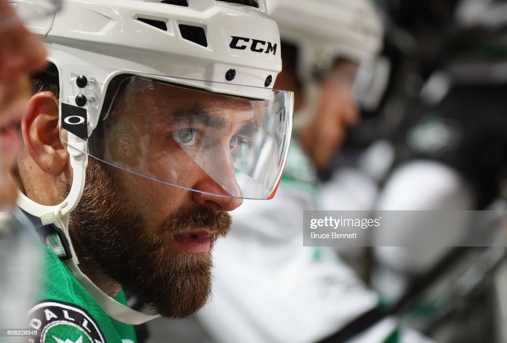 Greg Pateryn #29 of the Dallas Stars prepares to play against the New Jersey Devils at the Prudential Center on March 26, 2017 in Newark, New Jersey.