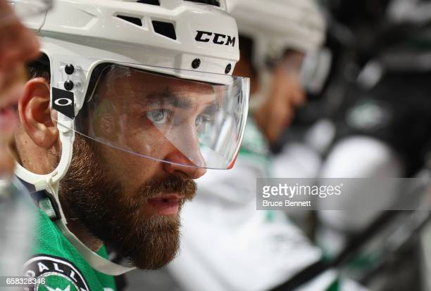 Greg Pateryn of the Dallas Stars prepares to play against the New Jersey Devils at the Prudential Center on March 26 2017 in Newark New Jersey