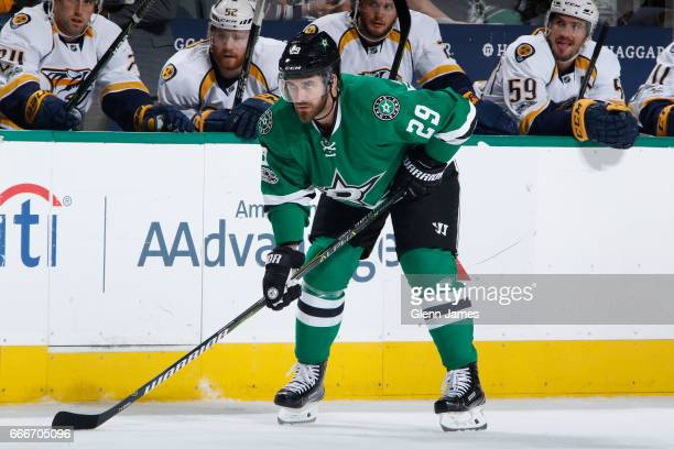 Greg Pateryn of the Dallas Stars skates against the Nashville Predators at the American Airlines Center on April 6 2017 in Dallas Texas