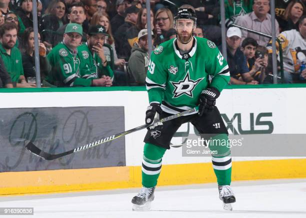 Greg Pateryn of the Dallas Stars skates against the Pittsburgh Penguins at the American Airlines Center on February 9 2018 in Dallas Texas