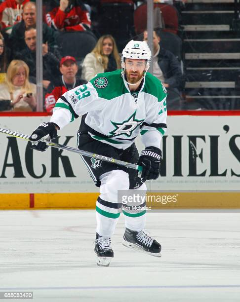 Greg Pateryn of the Dallas Stars skates in the secondperiod against the New Jersey Devils during the game on March 26 2017 at Prudential Center in...