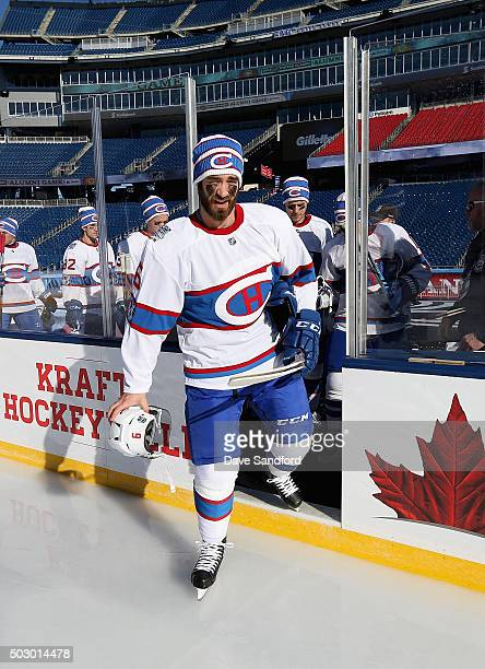 Greg Pateryn of the Montreal Canadiens attends practice for the 2016 Bridgestone NHL Classic at Gillette Stadium on December 31 2015 in Foxboro...