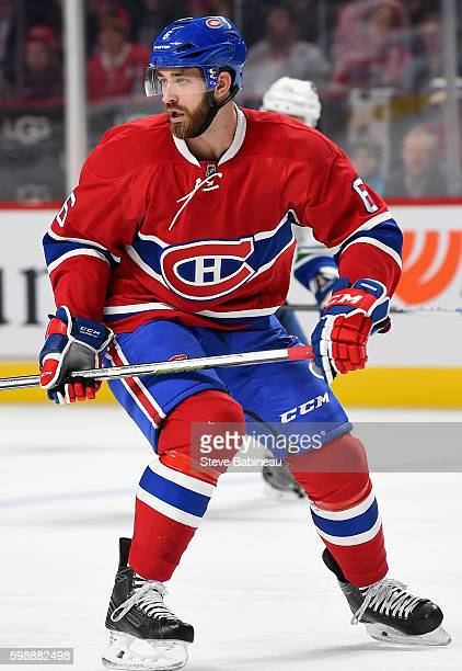 Greg Pateryn of the Montreal Canadiens plays in the game against the Vancouver Canucks at Bell Centre on November 16 2015 in Montreal Quebec Canada