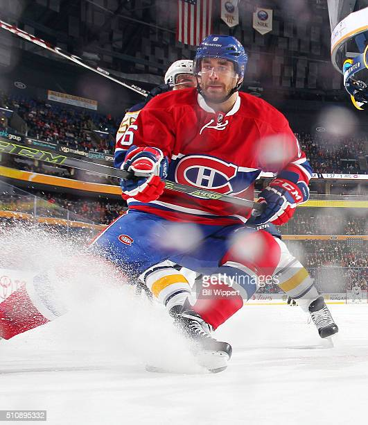 Greg Pateryn of the Montreal Canadiens skates against the Buffalo Sabres during an NHL game on February 12 2016 at the First Niagara Center in...