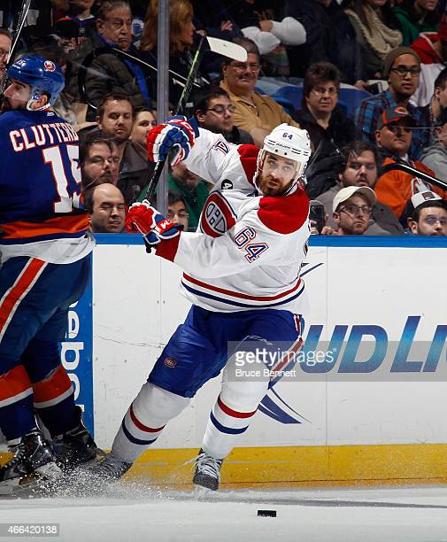 Greg Pateryn of the Montreal Canadiens skates against the New York Islanders at the Nassau Veterans Memorial Coliseum on March 14 2015 in Uniondale...