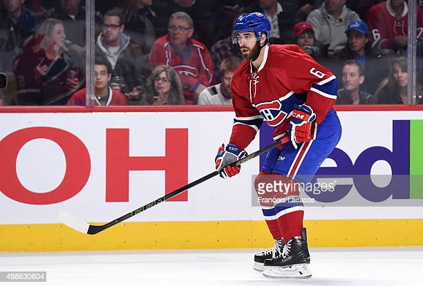 Greg Pateryn of the Montreal Canadiens skates against the Vancouver Canucks in the NHL game at the Bell Centre on November 16 2015 in Montreal Quebec...
