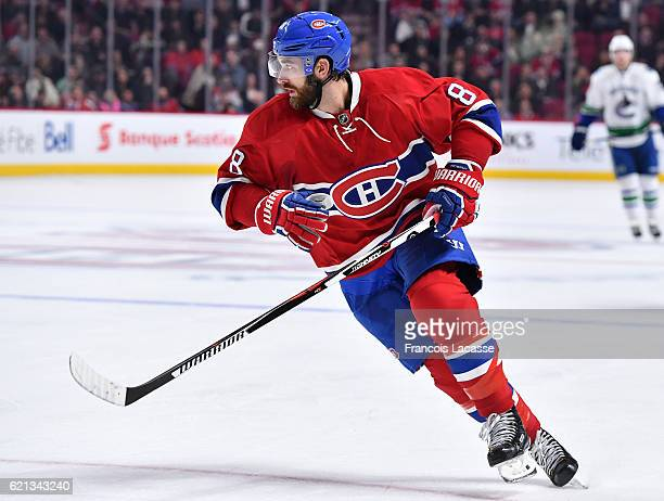 Greg Pateryn of the Montreal Canadiens skates against the Vancouver Canucks in the NHL game at the Bell Centre on November 2 2016 in Montreal Quebec...