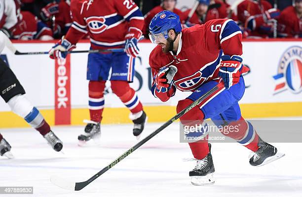 Greg Pateryn of the Montreal Canadiens skates against theColorado Avalanche in the NHL game at the Bell Centre on November 14 2015 in Montreal Quebec...