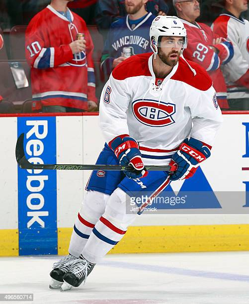 Greg Pateryn of the Montreal Canadiens skates up ice during their NHL game against the Vancouver Canucks at Rogers Arena October 27 2015 in Vancouver...