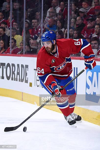 Greg Pateryn of the Montreal Canadiens skates with the puck during Game Five of the Eastern Conference Quarterfinals of the 2015 NHL Stanley Cup...