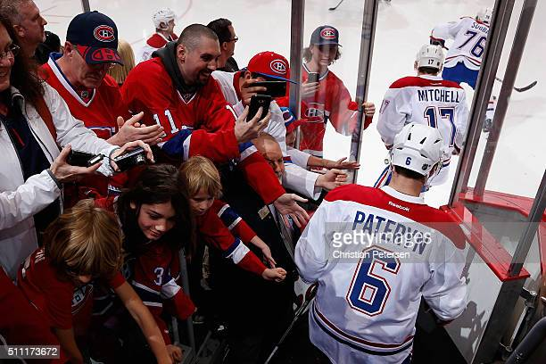 Greg Pateryn of the Montreal Canadiens takes the ice for warm ups to the NHL game against the Arizona Coyotes at Gila River Arena on February 15 2016...