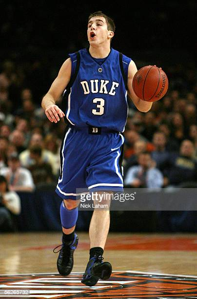 Greg Paulus of the Duke Blue Devils reacts to a call from the referee during their Preseason NIT game against the Drexel Dragons at Madison Square...