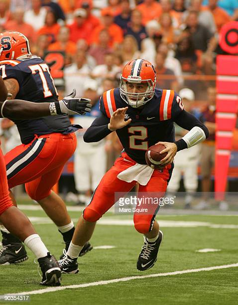 Greg Paulus of the Syracuse Orange scrambles during the game against the Minnesota Gophers at the Carrier Dome on September 5, 2009 in Syracuse, New...