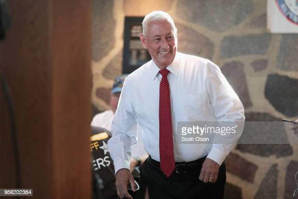 Greg Pence Republican candidate for the US House of Representatives arrives at a primarynight watch party on May 8 2018 in Columbus Indiana Greg...