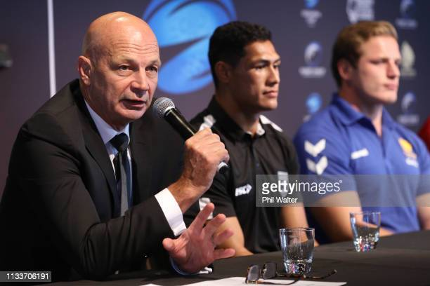 Greg Peters speaks during the Oceania Cup Announcement made in conjunction with the Rugby League International Federation, the England Rugby Football...