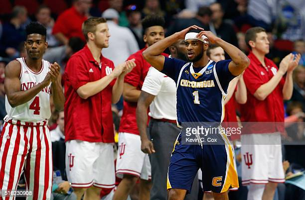 Greg Pryor of the Chattanooga Mocs reacts after a teammate turns over the ball in the first half against the Indiana Hoosiers during the first round...