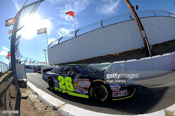 Greg Pursley driver of the GPM/Star Nursery/Real Water Ford pulls off the track during the final practice prior to the NASCAR KN Toyota/NAPA Auto...