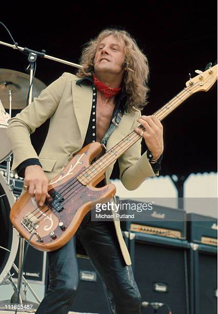 Greg Ridley of Humble Pie performs on stage at Charlton Athletic London 18th May 1974