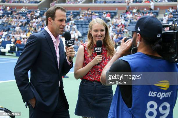 Greg Rusedski and Anna Whiteley of Amazon Prime comment day 3 of the 2018 tennis US Open on Arthur Ashe stadium at the USTA Billie Jean King National...